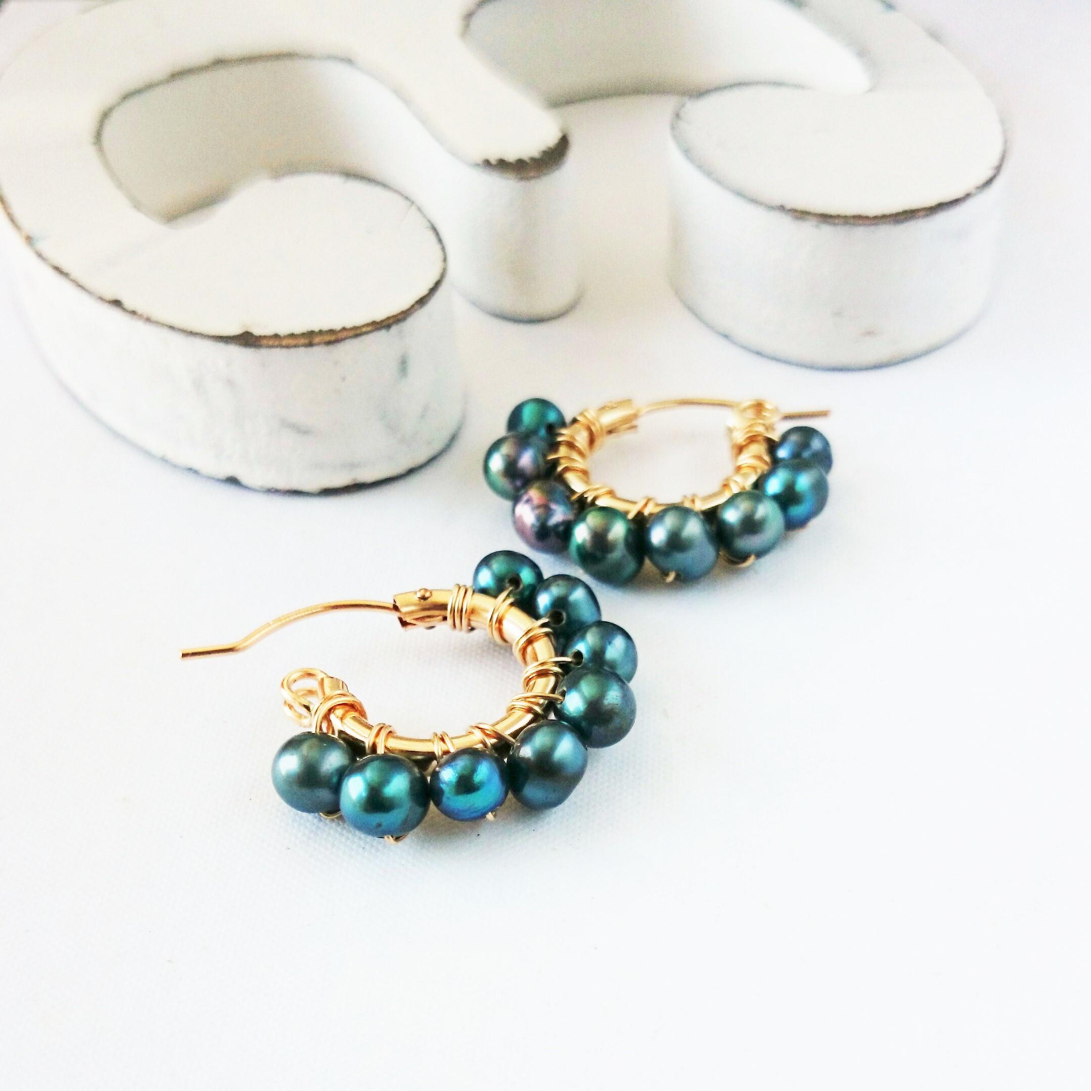 送料無料 14kgf*freshwater pearl green wrapped pierce/earring
