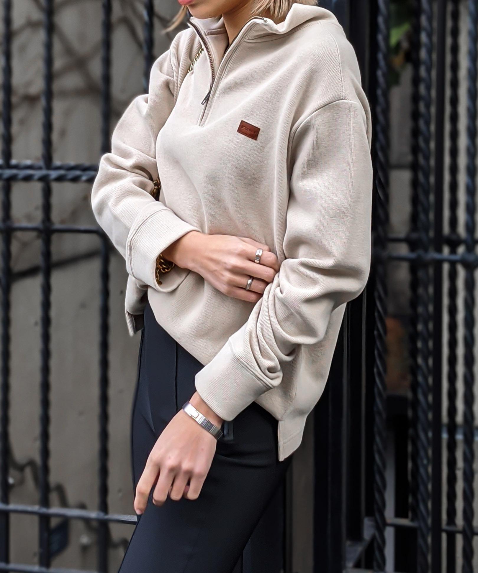 Front zip collar top