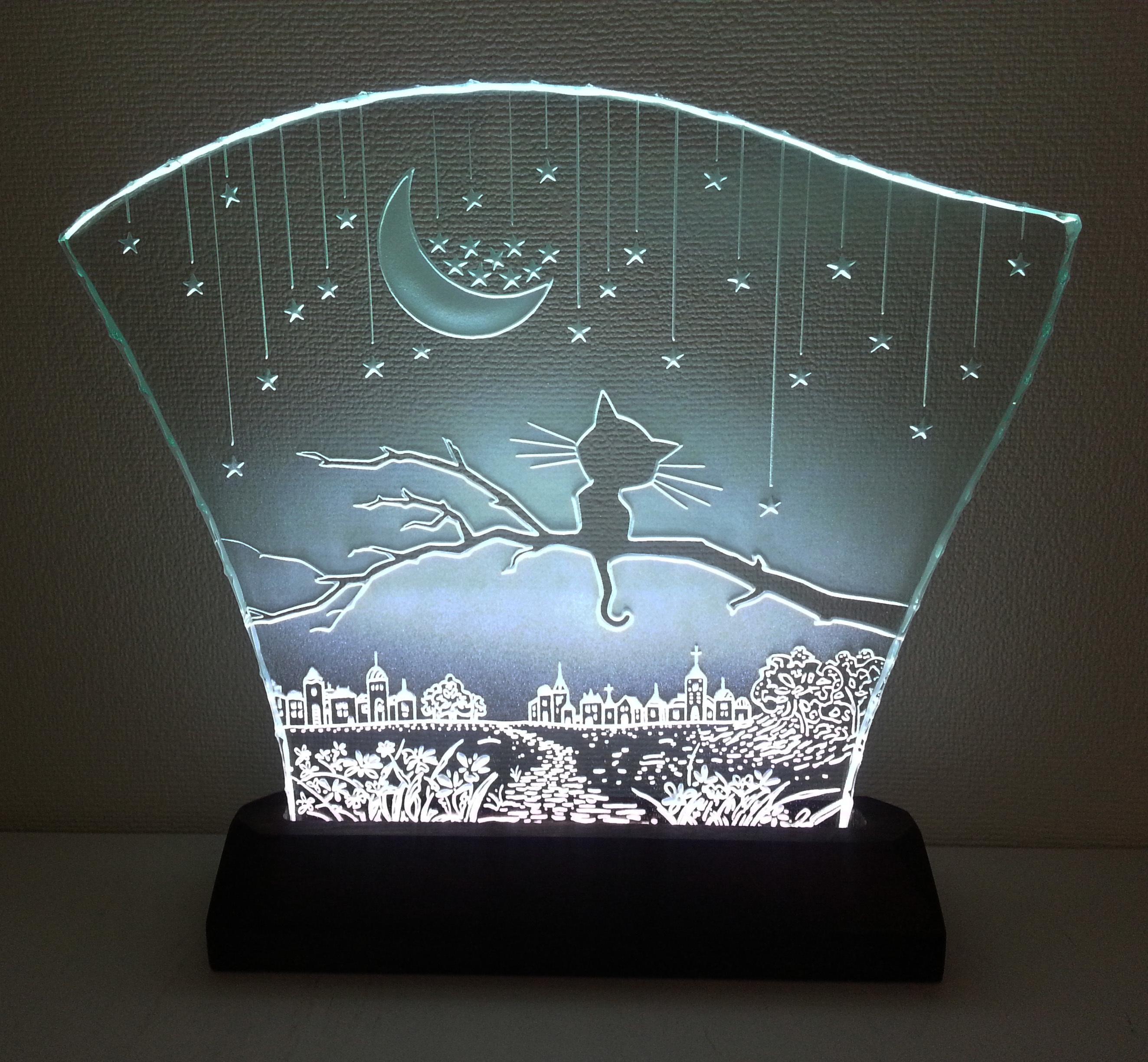 星降る夜・ネコ ガラスエッチングパネル(三日月) Lサイズ・LEDスタンドセット (ねこ・猫)