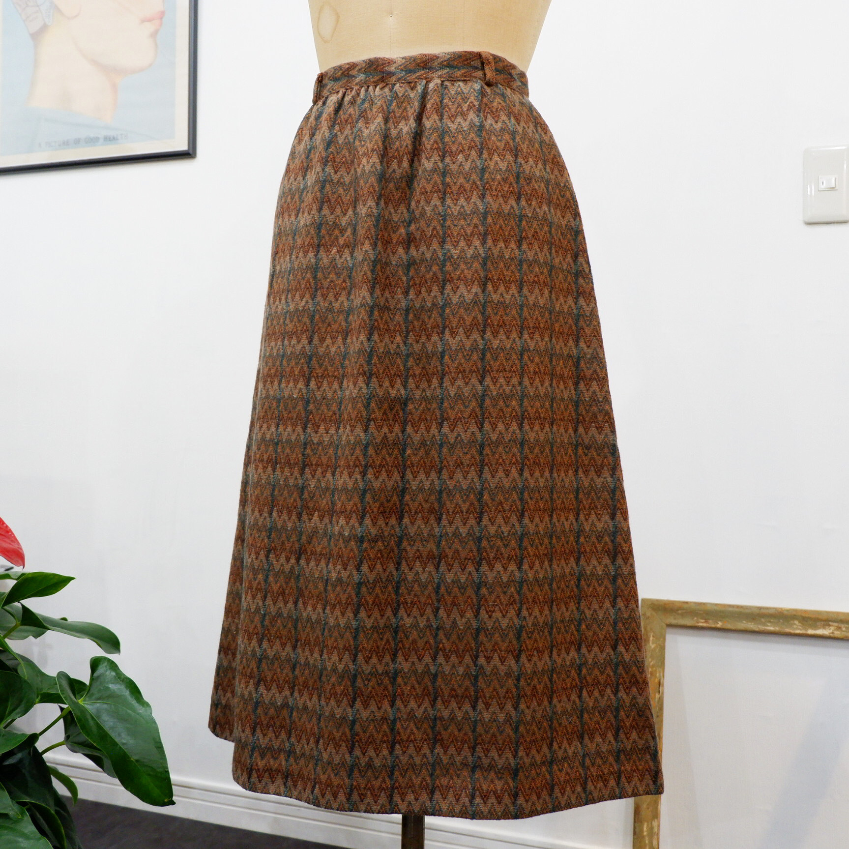アメリカ古着 1970s USA製 ジグザグ ウールスカート