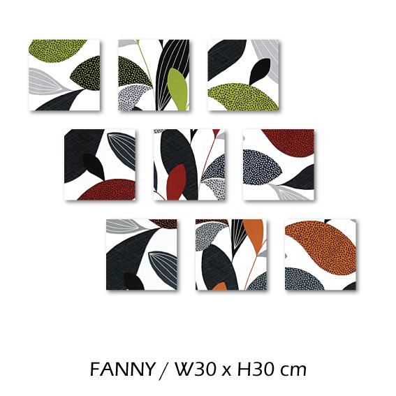 北欧生地 ファブリックパネル 横30 cm x 縦30 cm (3枚組)Kinnamark FANNY 受注販売商品 (100909)