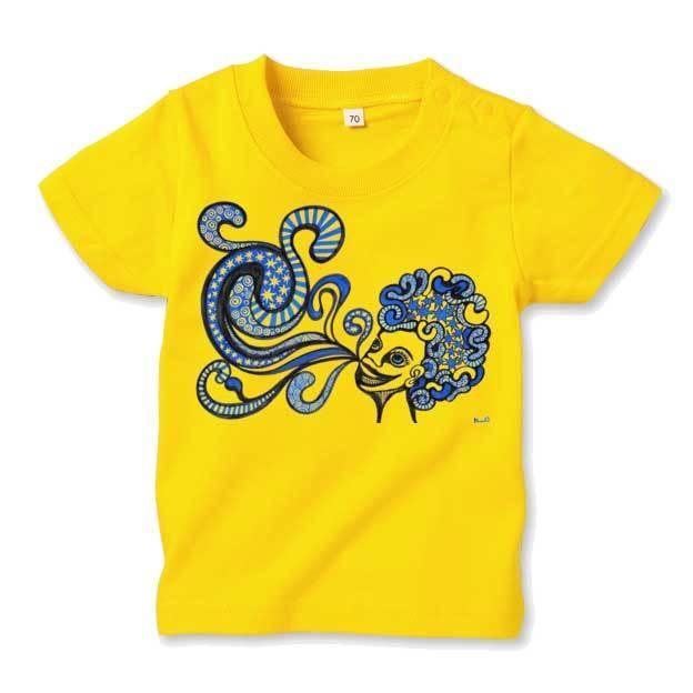 ◆キッズTシャツ 70.80.90サイズ対応◆ ブルーラッパー イエロー