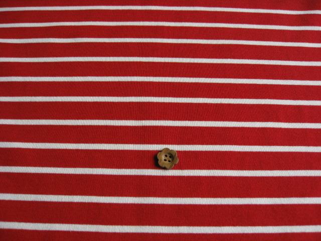 J&B定番 綿40双糸天竺ニット、ボーダー柄 レッド(少しくすんだ赤) +オフホワイト NTB-0334