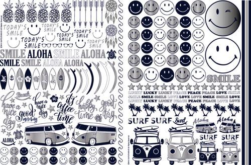 【SET割引】SMILE Summer A4サイズ2枚セット  ポーセリンアート用転写紙