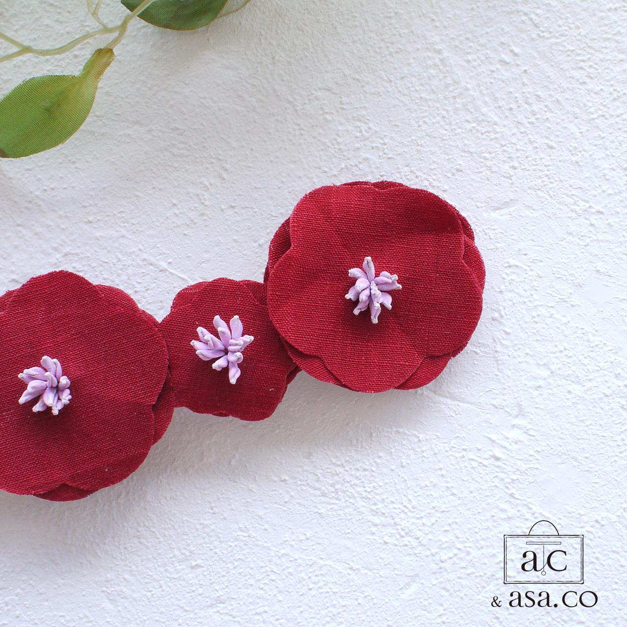 麻の襟元ブローチ 〈 Romantic 〉Red