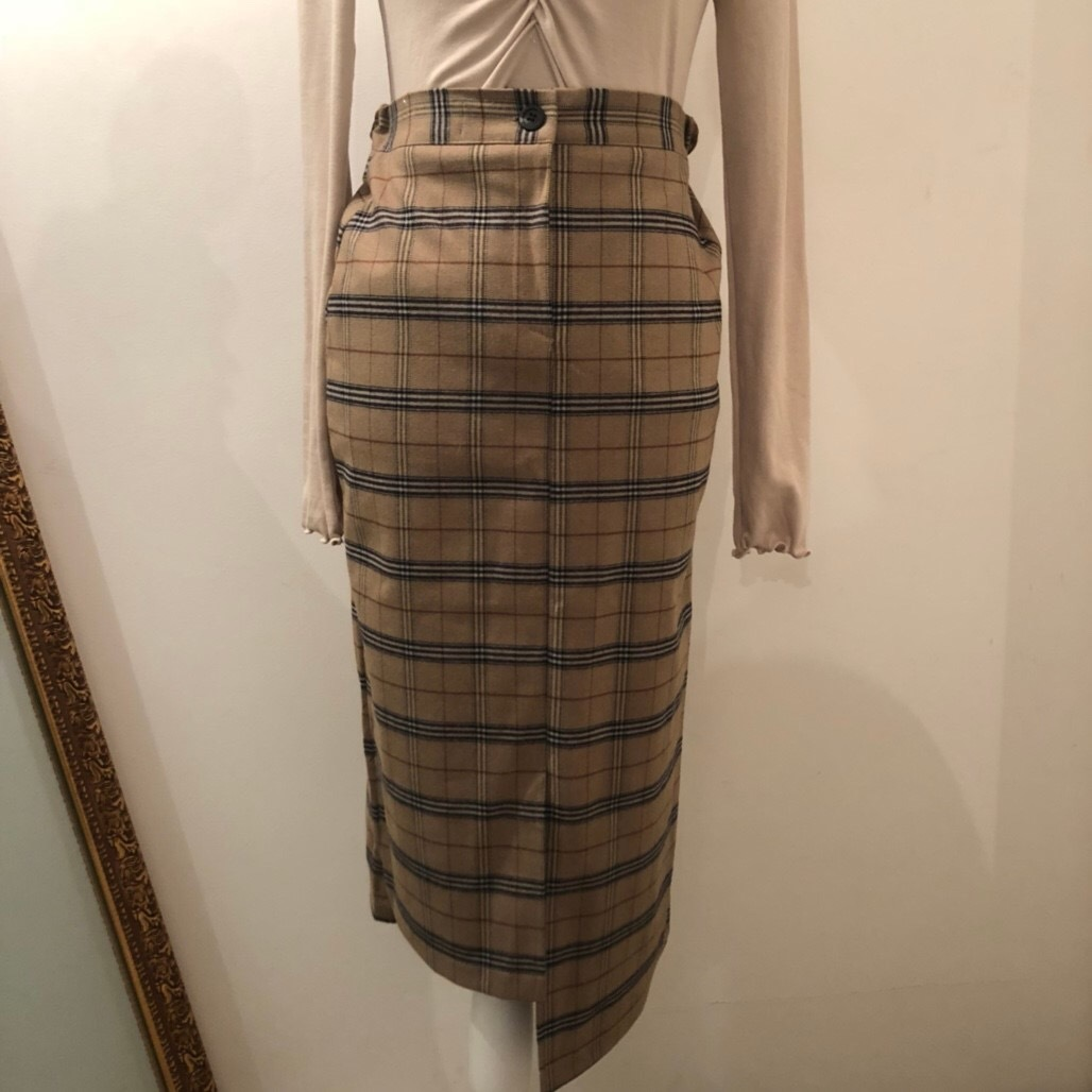 slit check long skirt (beige)