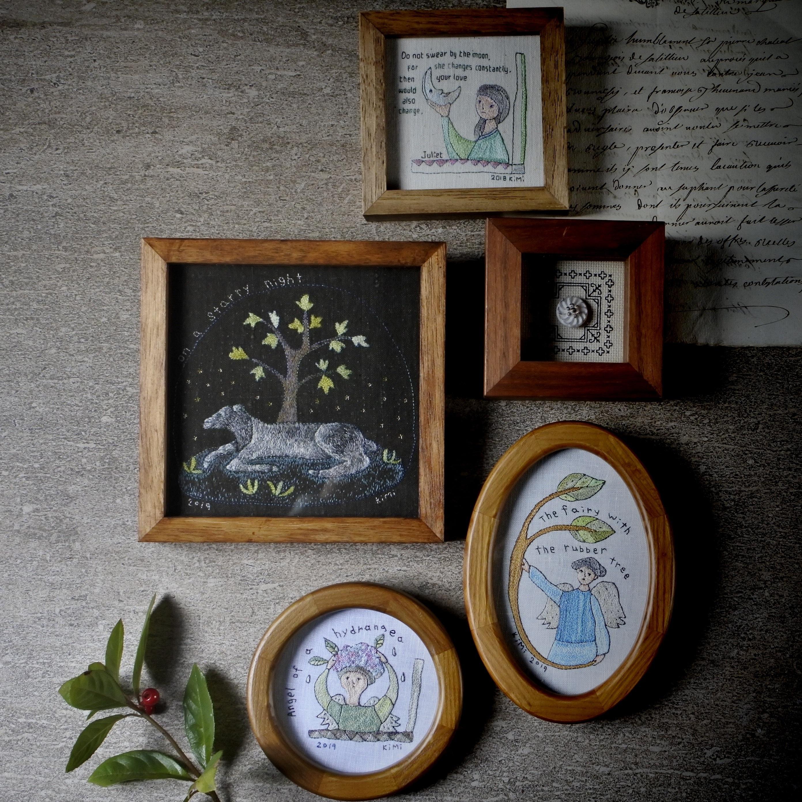 ham embroidery /刺繍額『中世ヨーロッパの絵っぽい羊』