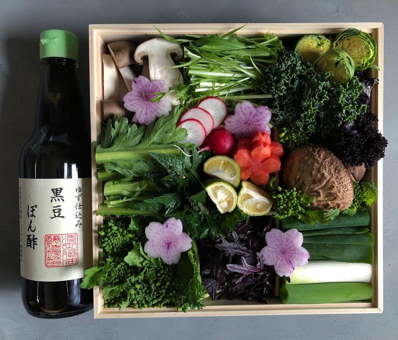 京野菜鍋重/木箱と黒豆ぽん酢