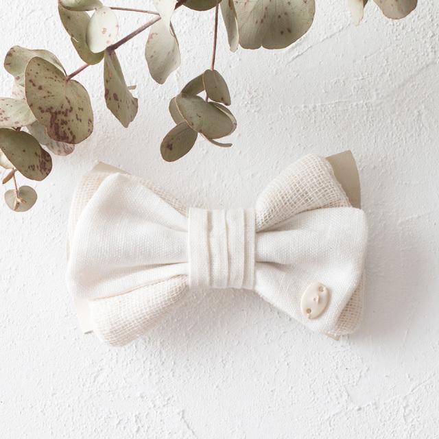 麻の蝶ネクタイ 〈Bow Tie〉White