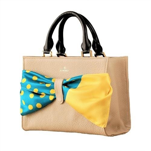 ZAWAZA オリジナルバッグ <結~Yui~> バッグ :ベージュ スカーフ:青(不揃い水玉)×黄(万筋)