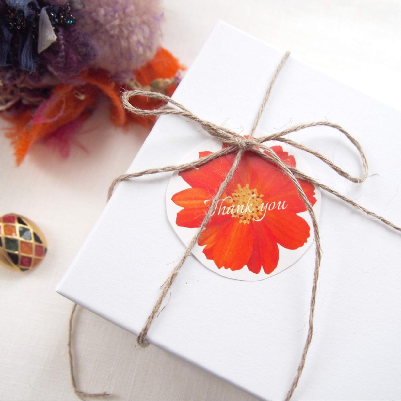 名入/送料無料⚘80枚+5枚予備 コスモス オレンジ サンキュータグ