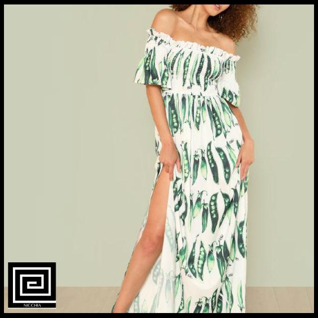 トロピカルプリントスリットサイドフリルバードドレス