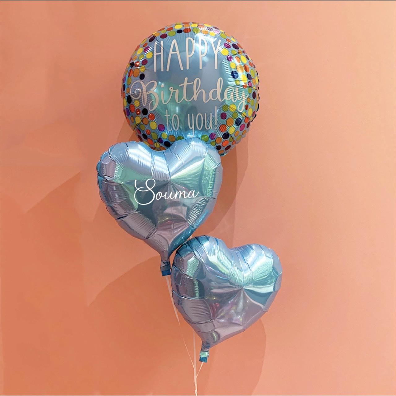 【期間限定・送料無料】HBD 3mini heart bouquet LIGHT BLUE