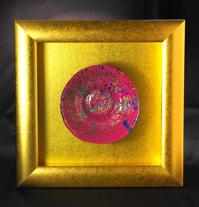 深甚婆娑羅ドローイングによる硝子額装作品「私の中のビッグバン」(ピンク)2-2-A