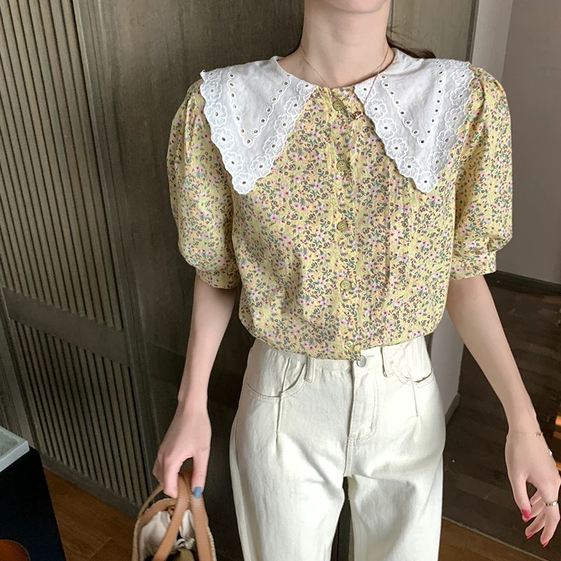 pastel yellow flower blouse