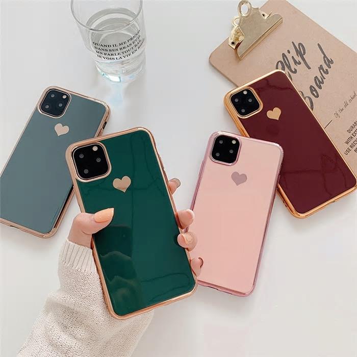 【お取り寄せ商品、送料無料】4カラー ハート ゴールド ソフト iPhoneケース iPhone11