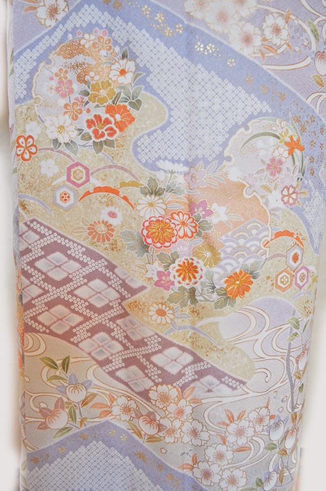 レンタル着物163「訪問着レンタル」極薄紫さや型生地に上品な桜・橘・鹿の子・流水などの柄【往復送料無料】 - 画像5