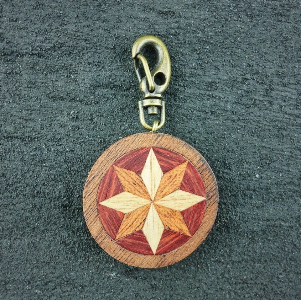 wooden inlaid charm IH-018-WT-2