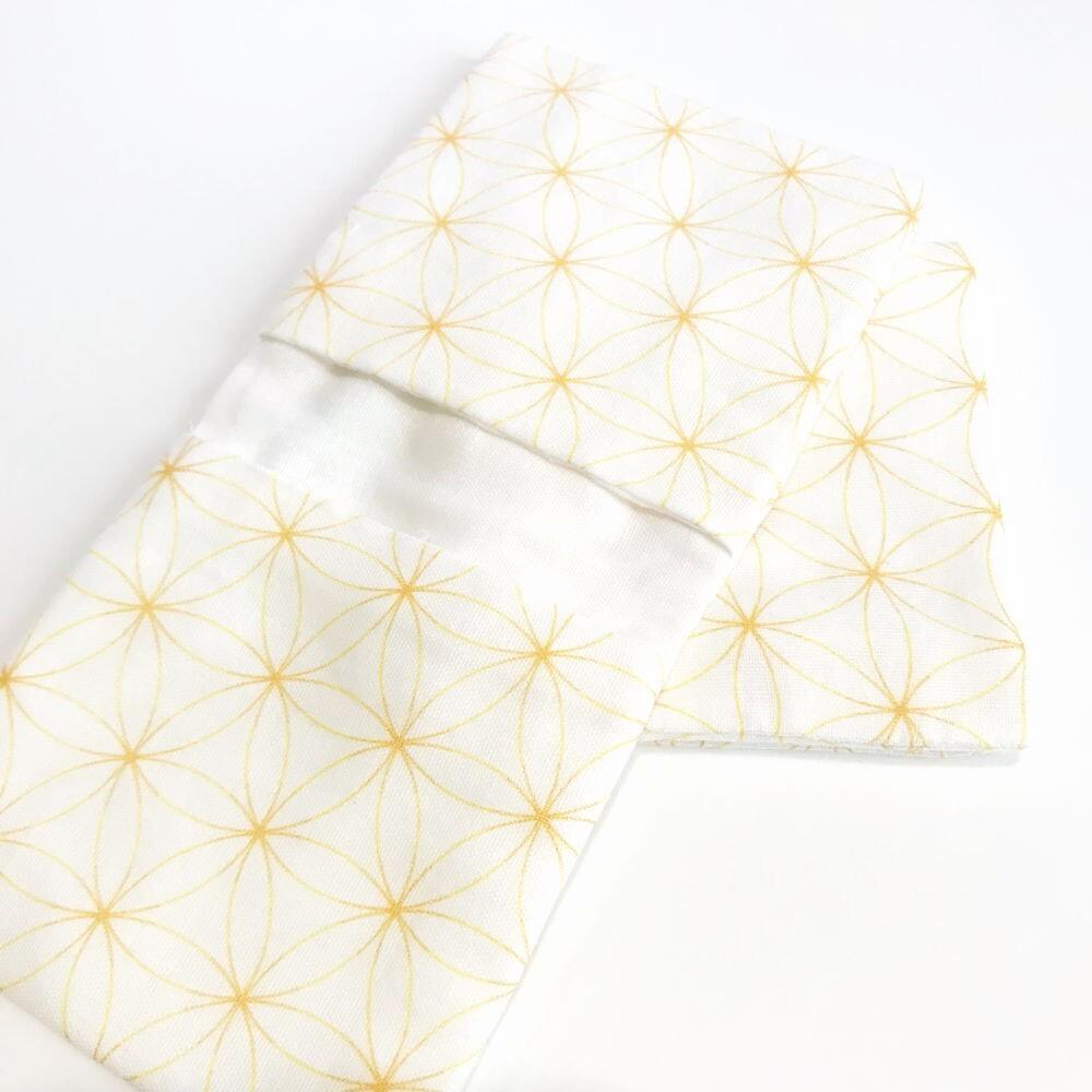 内緒ポケットのガーゼハンカチ11* 幾何学模様 イエロー