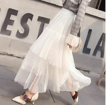 メッシュスカート レース Aライン ティアードスカート 透け感 エレガント フェミニン キュート セクシー デート お食事会