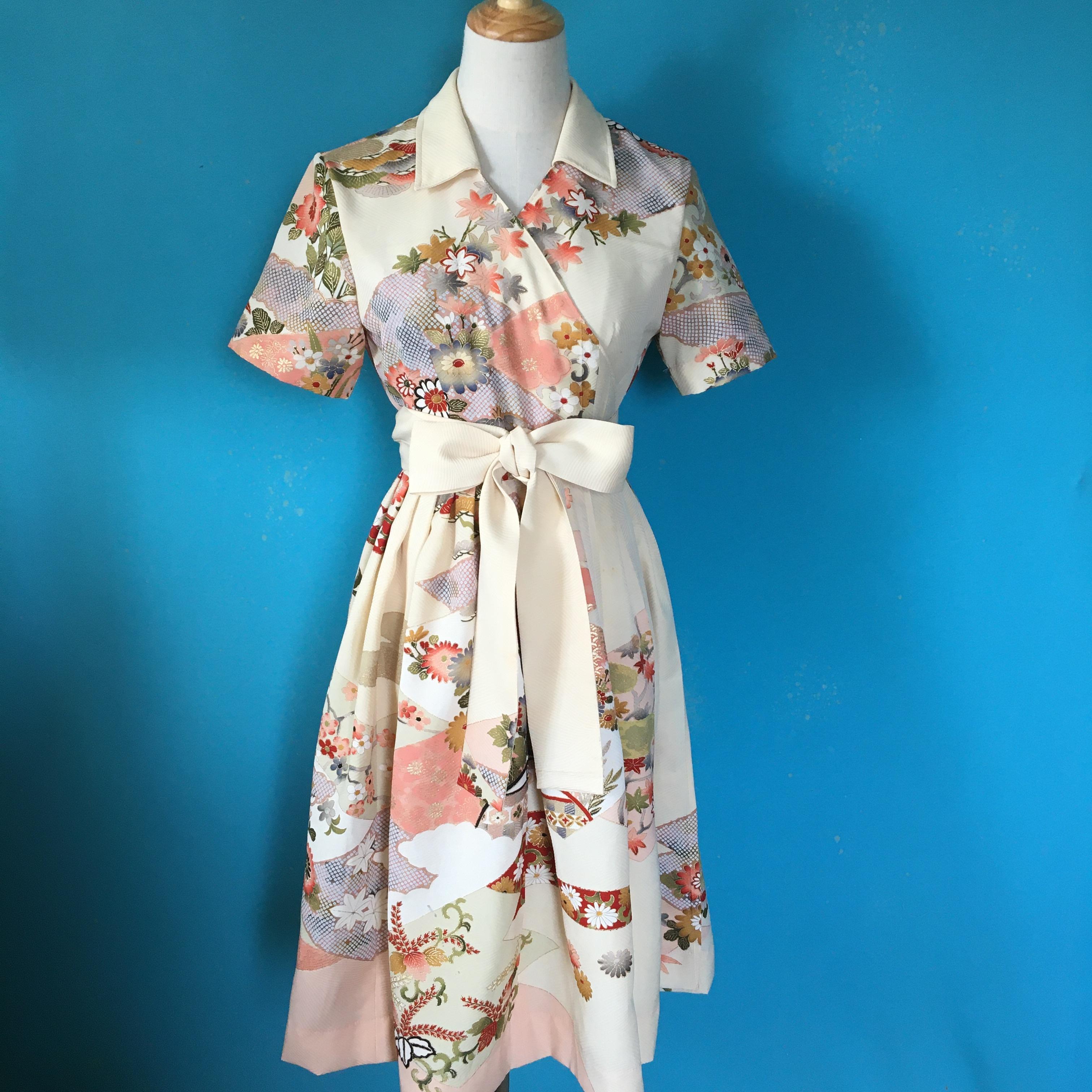 訪問着 Vintage kimono wrap dress/ US 8