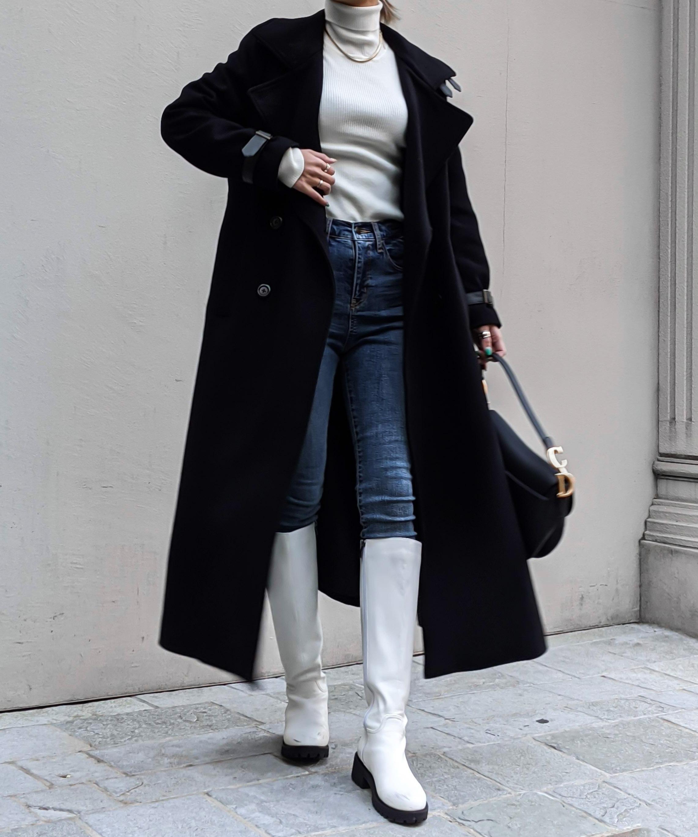 Standcollar wool long coat
