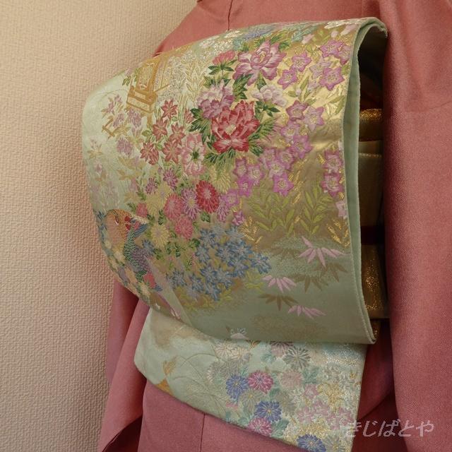 正絹 裏葉柳色の袋帯