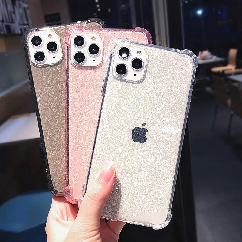 【お取り寄せ商品、送料無料】3カラー グリッター クリア 透明 ソフト iPhoneケース iPhone11