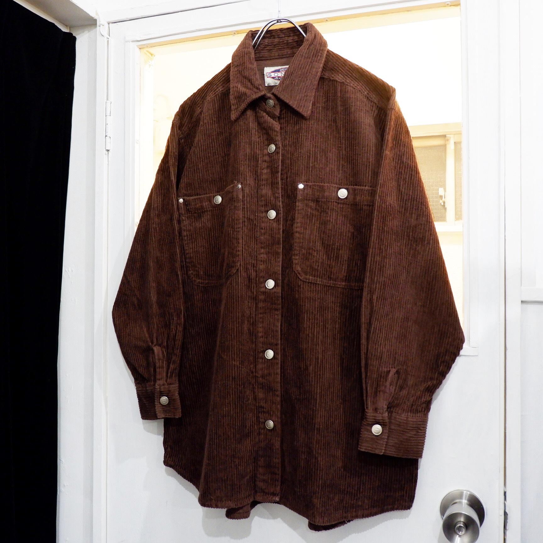 アメリカ古着 ブラウン コーデュロイシャツ