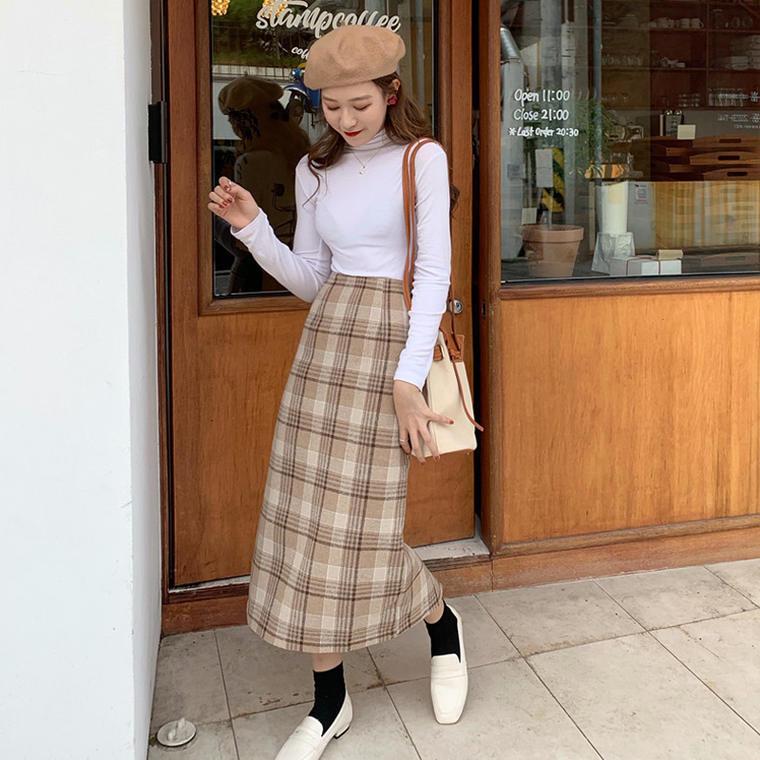 【送料無料】ナチュかわ ボトム♡ チェック柄 ロング丈 タイト ウール スカート 大人可愛い バッグスリット