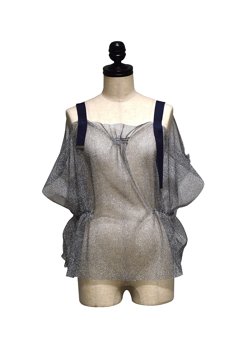 koll / tulle camisole top / Silver