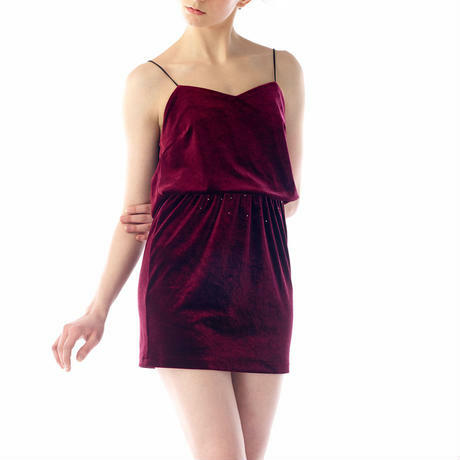 SPAGHETTI STRAP VELOUR MINI DRESS - WINE RED