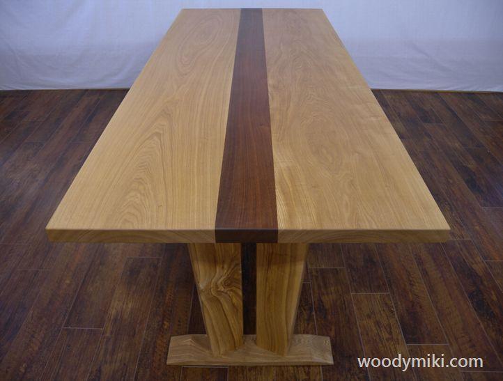 テーブル タモ、ウォールナット - 画像1