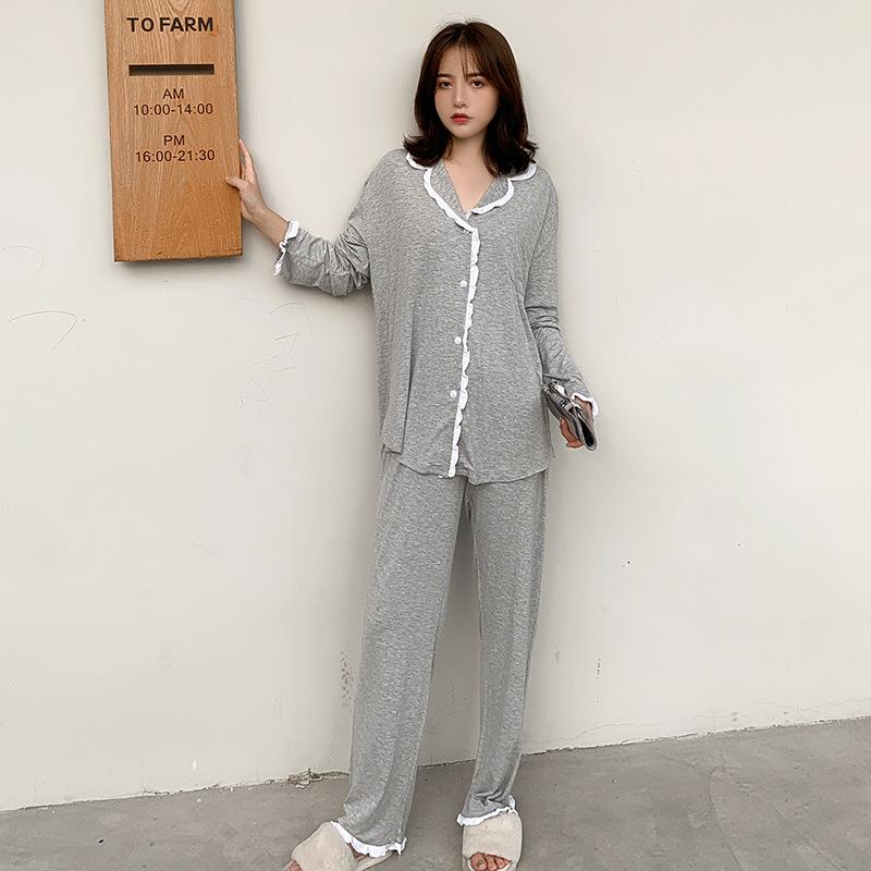 【パジャマ】ファッション無地シングルブレスト切り替え上下セット32773427
