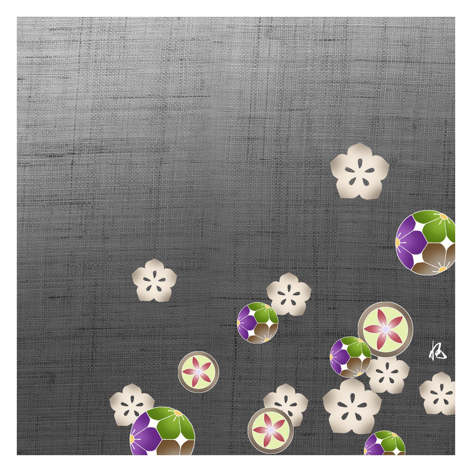ガラス皿「そめゆら」K-10 桔梗紋 ブラック