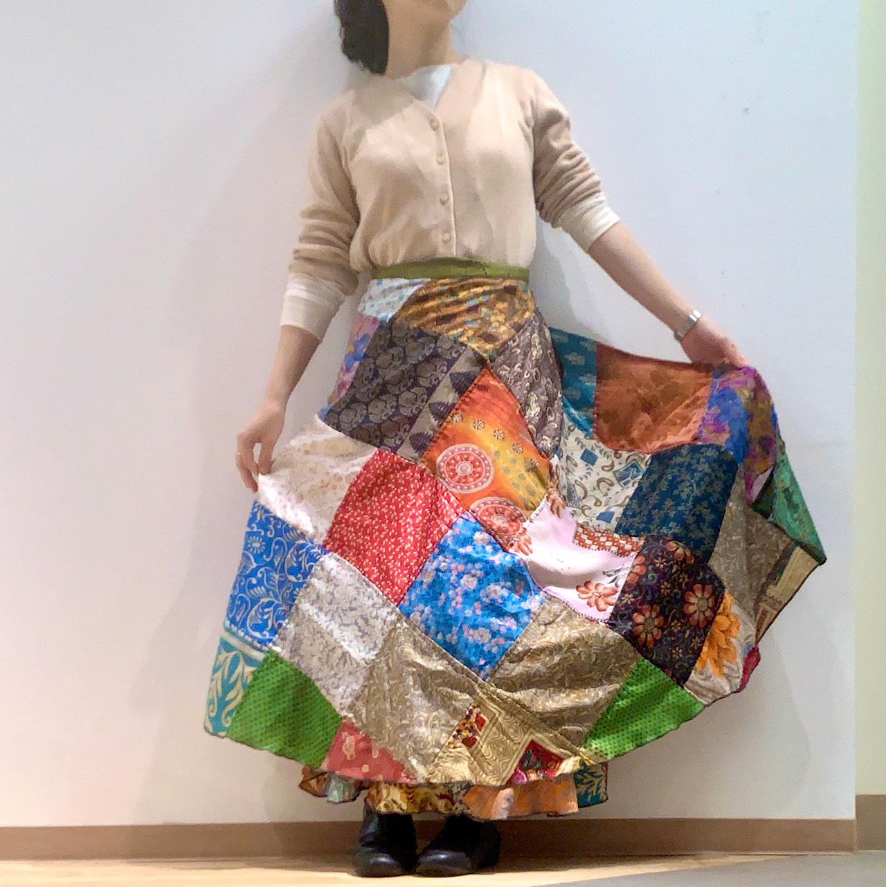 dspat-159 シルクサリー パッチワーク 巻きスカート【ビンテージサリー】