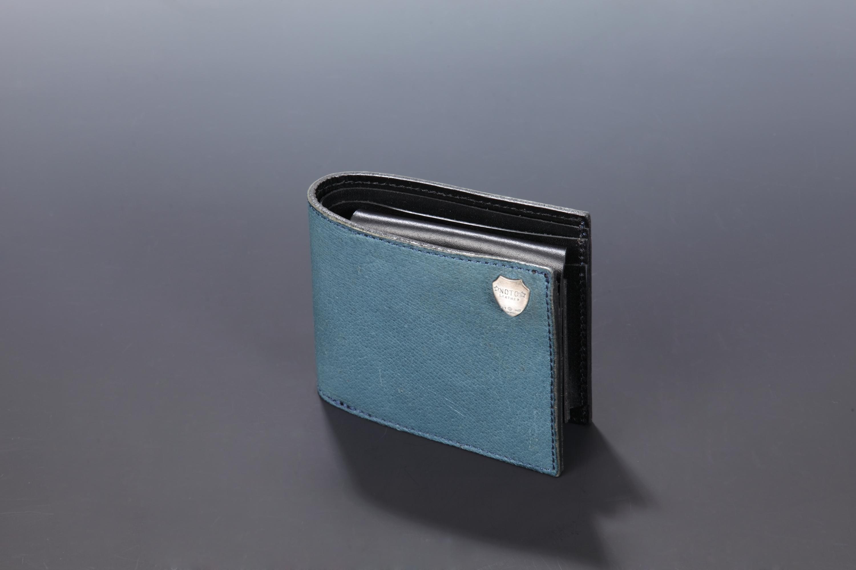 【国産イノシシ革】2つ折りウォレット(Blue)【NOTO Leather使用】