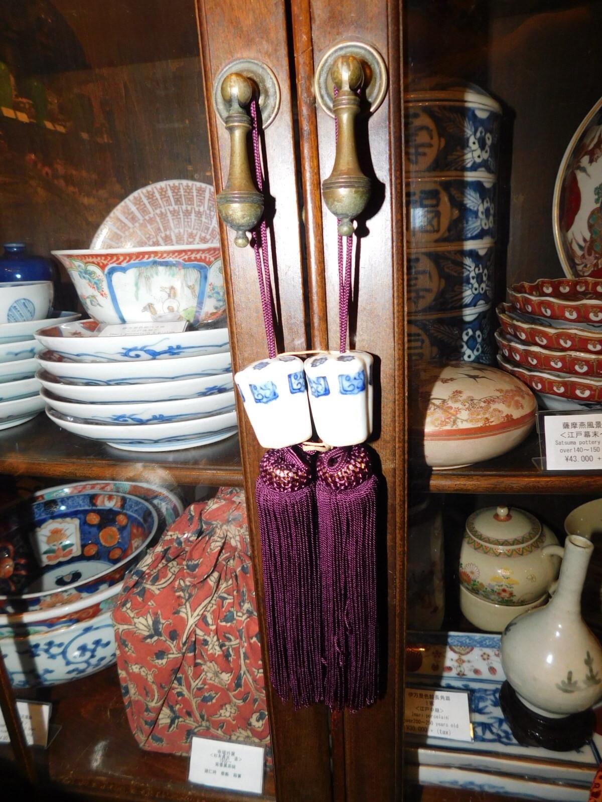 染付陶磁器風鎮 blue &white porcelain for hanging-scroll weight