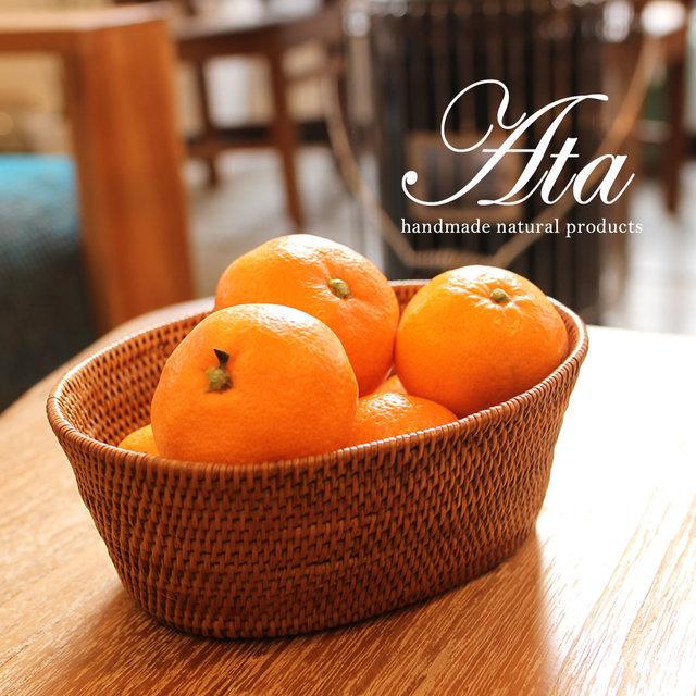 アタ製丸っこい形がほっこりするアタ丸箱 A42(手編みかご、みかんかご、小物入れ、果物かご)