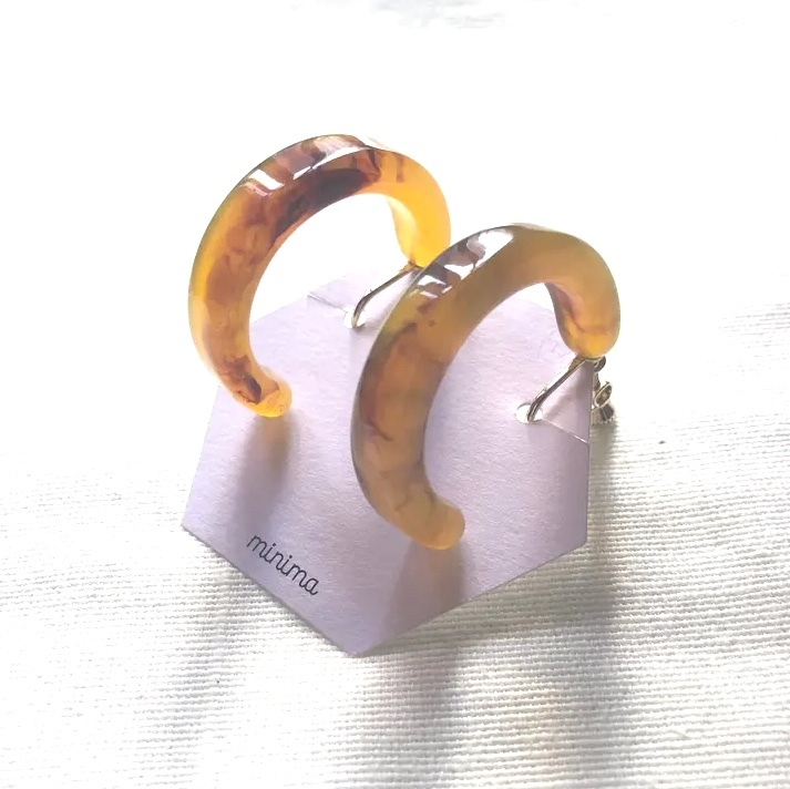 マーブルフープイヤリング