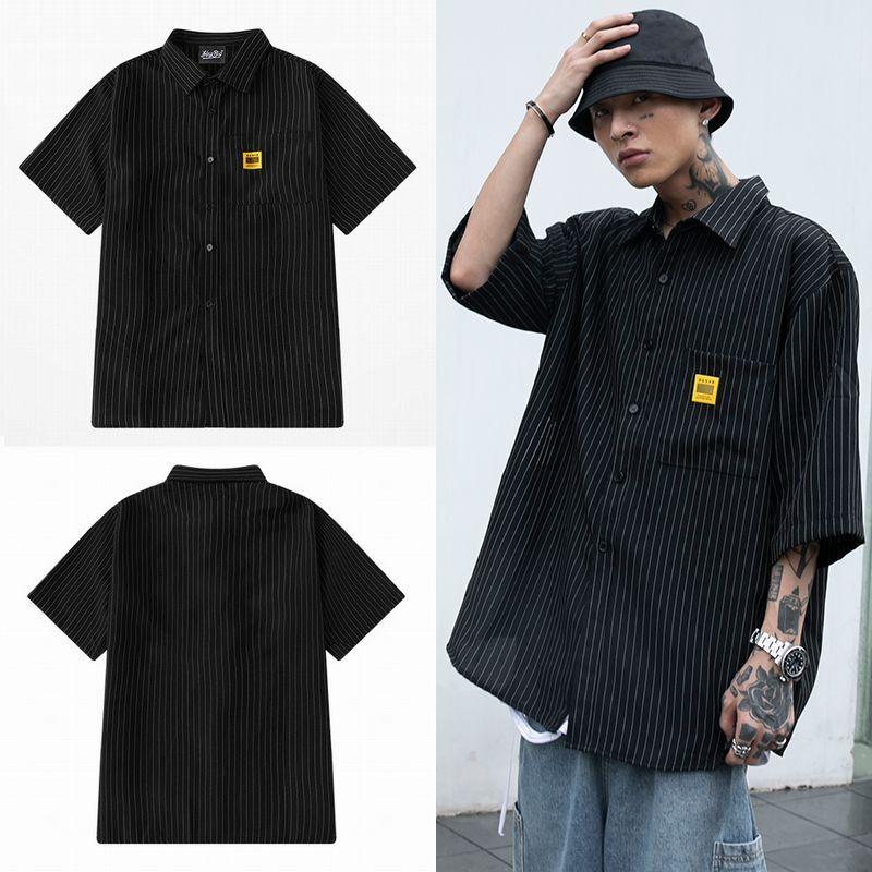 ユニセックス シャツ 半袖 メンズ レディース Vネック ストライプ柄 パッチ オーバーサイズ 大きいサイズ ルーズ ストリート