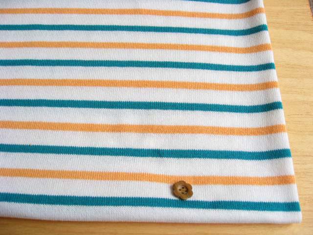 16番双糸天竺トリコロール・キッズボーダー オフホワイト+淡いオレンジ+青みがかったグリーン JKB-0066