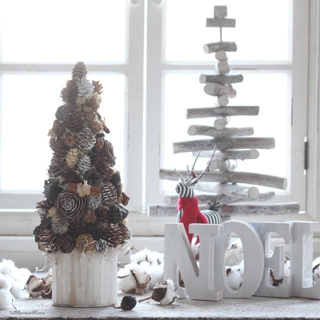 木の実たっぷりクリスマスツリー*北欧風プランターホワイトウォッシュ