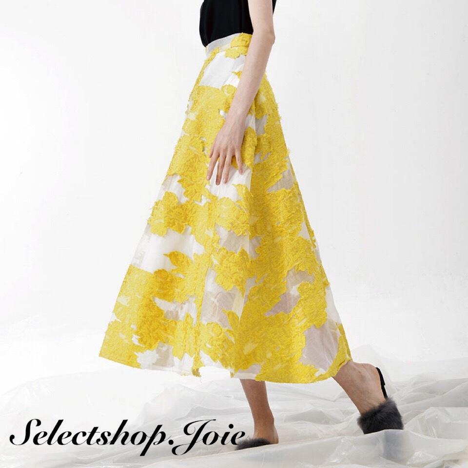 エレガント刺繍フレアスカート