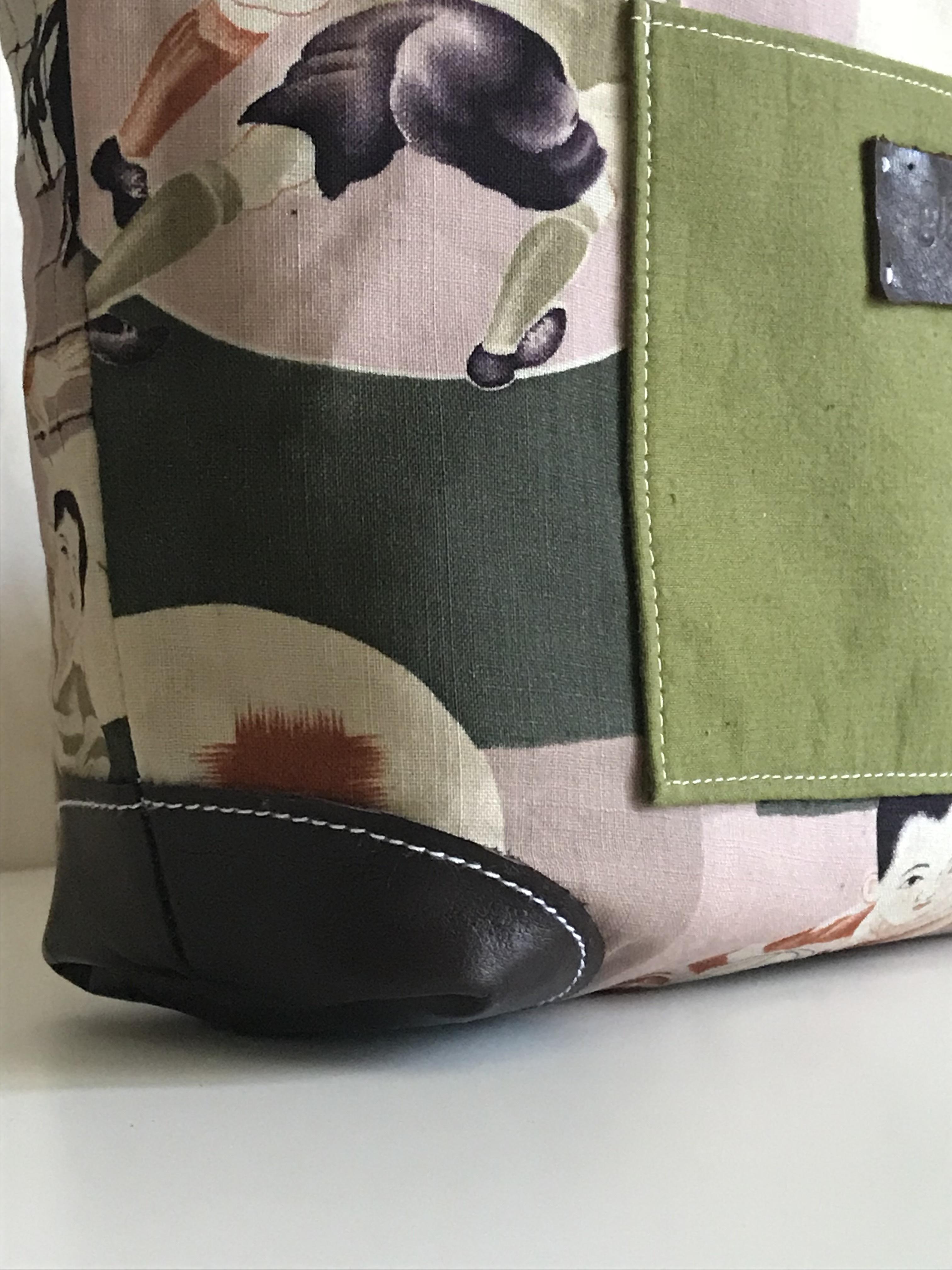 リバーシブル ラグビー少年のキャンバスバッグ(小)ネイビー帆布