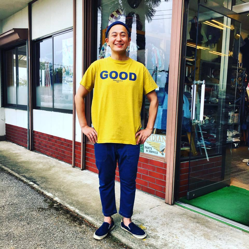"""Good On(グッドオン)S/S """"GOOD ON"""" LOGO T/""""GOOD ON"""" ロゴTシャツ MUSTARD/NAVY"""