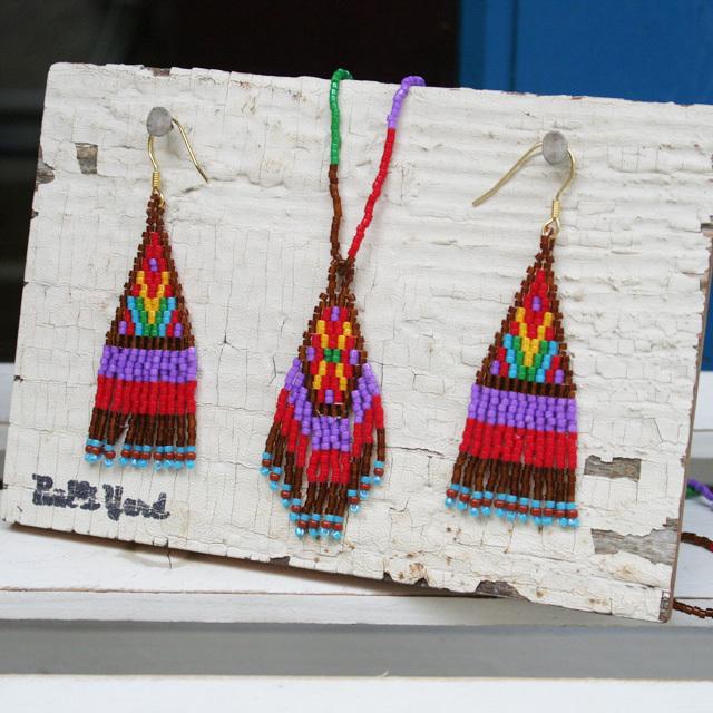 ビーズピアス&ネックレスセット /184-03 brown/ Bulliyard_yucco / PERU ペルー