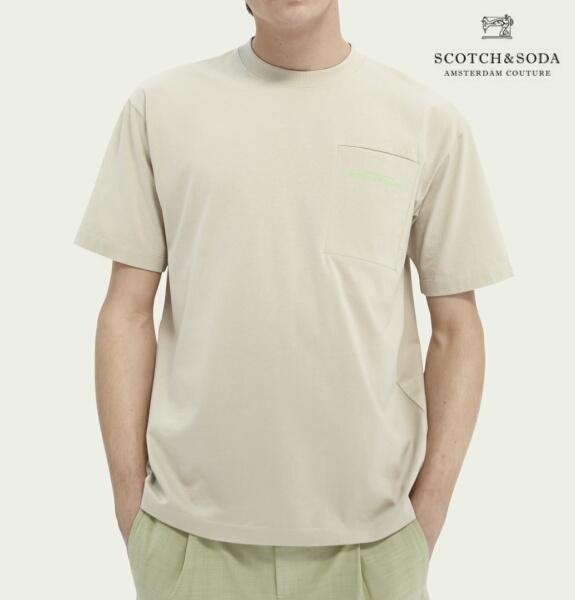 スコッチ&ソーダ SCOTCH&SODA 半袖 Tシャツ クルーネック リラックスフィット ポケット Tシャツ Stone 292-34420