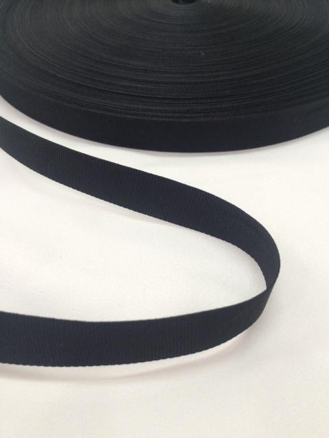 ナイロン 平織(グログラン)15mm幅 黒 5m