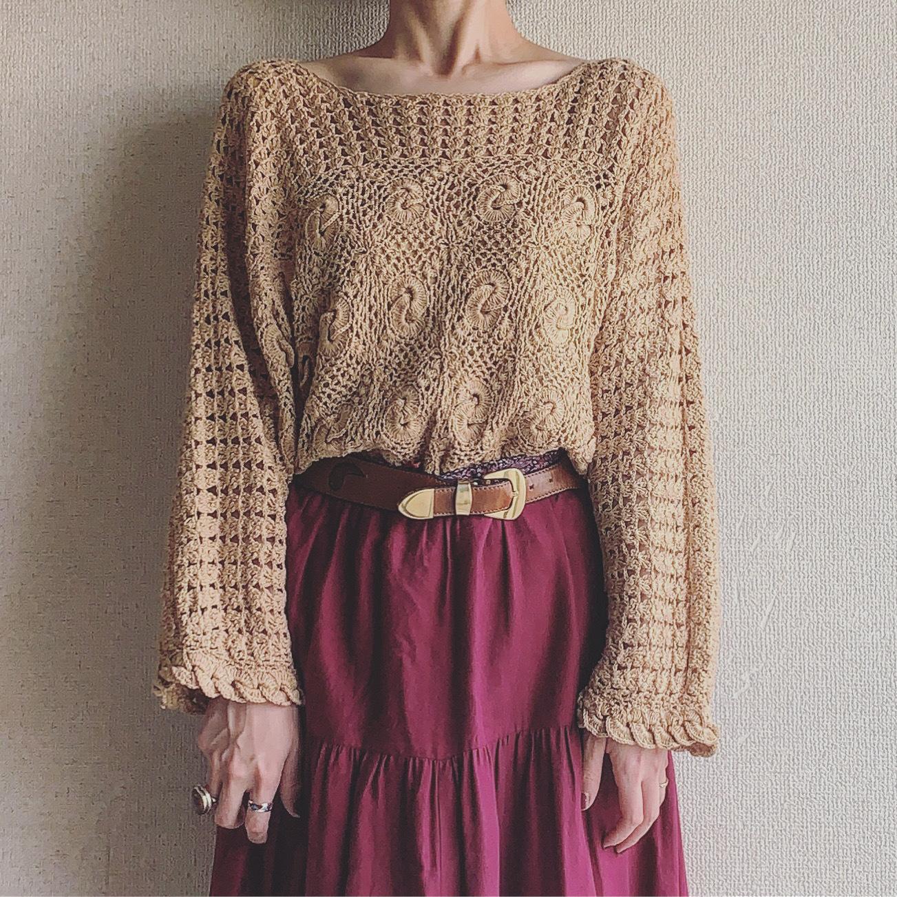 vintage handknit crochet tops